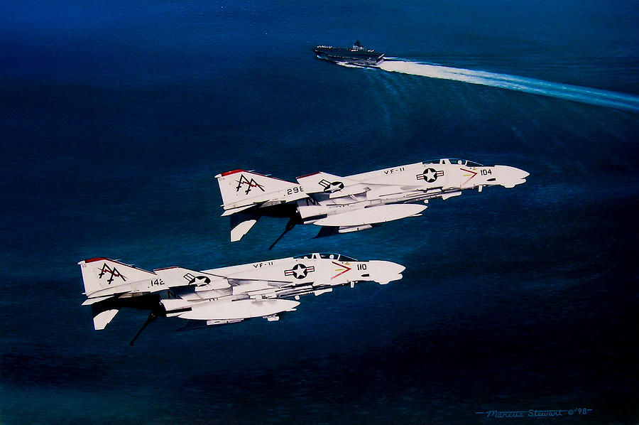Military Painting - Forrestal S Phantoms by Marc Stewart
