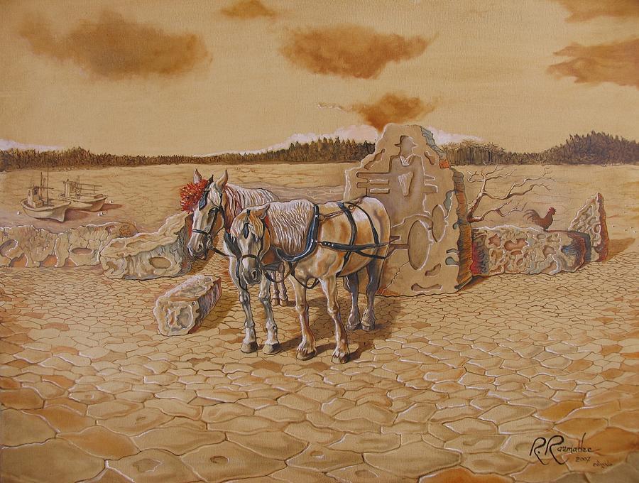 Surreal Painting - Forsaken Carriage by Ramaz Razmadze