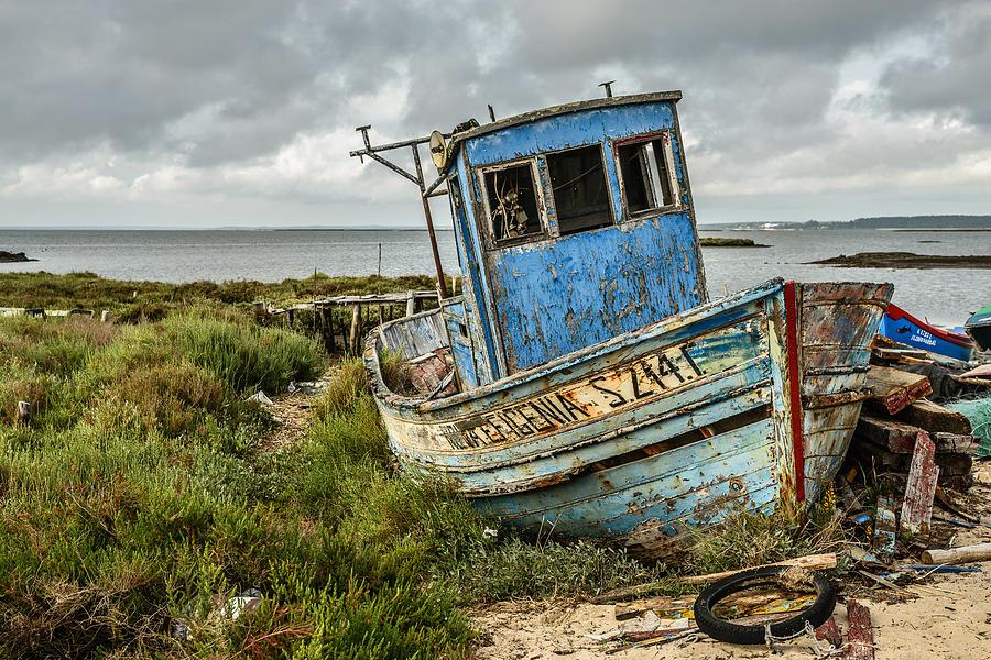 Forsaken Photograph - Forsaken Fishing Boat by Marco Oliveira