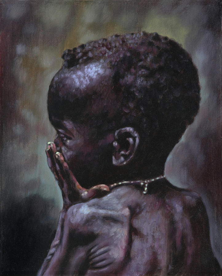 Starving Child Painting - Forsaken by John Lautermilch