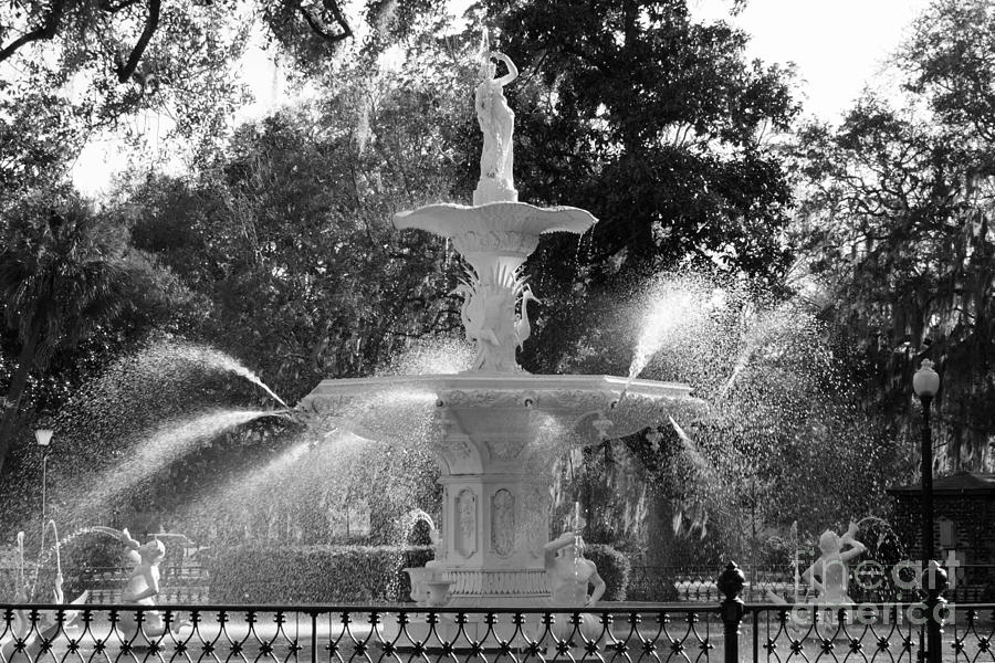 1598c888a87 Forsyth Park Fountain In Black And White Photograph by Carol Groenen