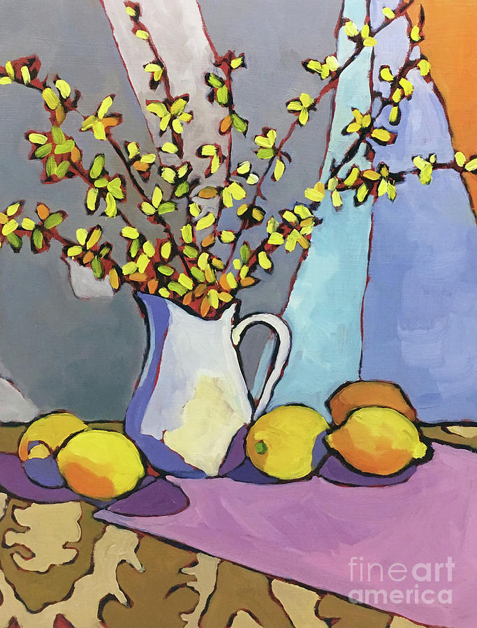 Oil Paintings Painting - Forsythia And Lemons by Catherine Martzloff