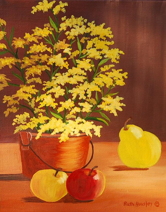 Flowers Painting - Forsythia Flowers And Fruit Sold by Ruth  Housley