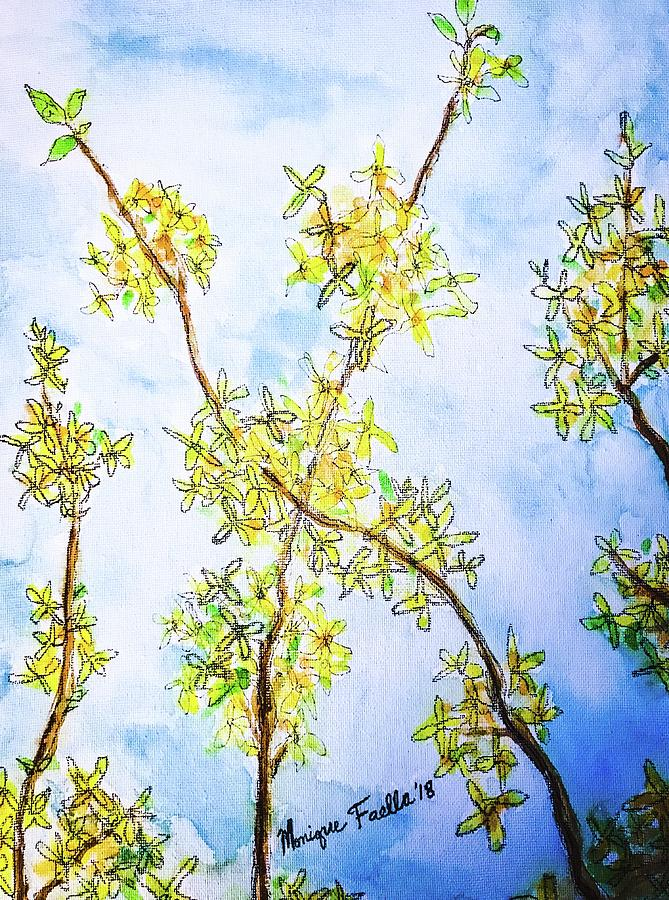Forsythia Painting - Forsythia by Monique Faella