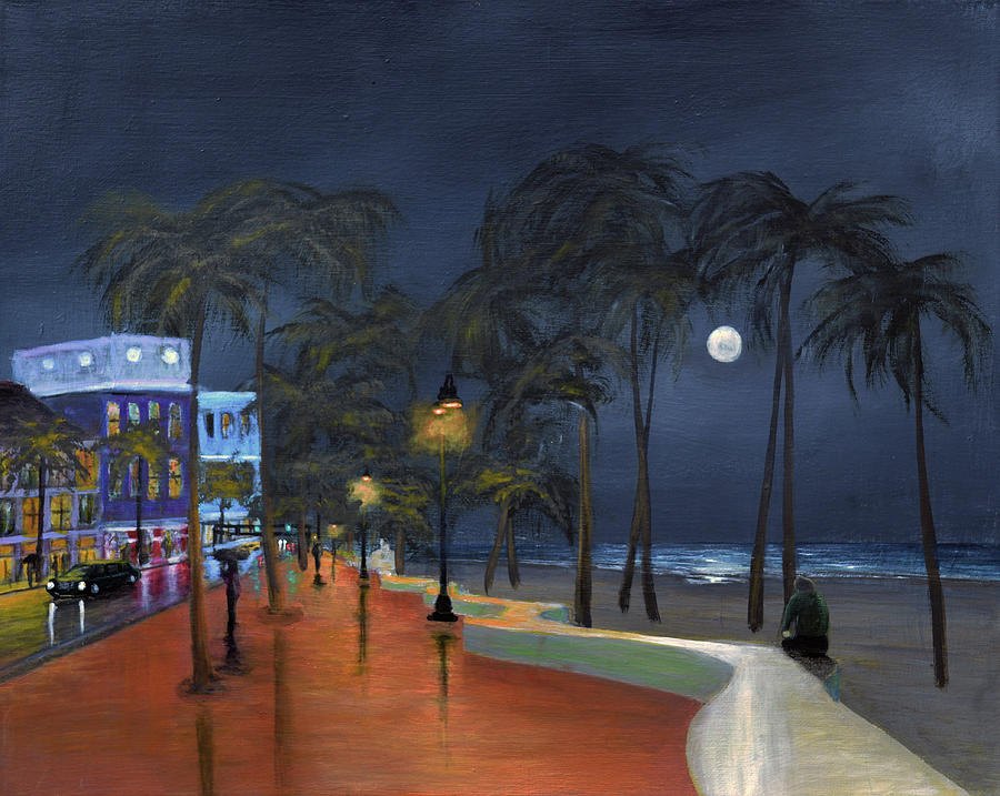 Miami Painting - Fort Lauderdale Beach At Night by Ken Figurski