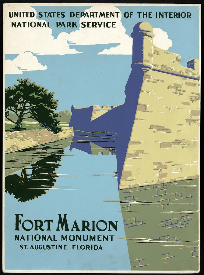 Fort Marion National Monument - St.augustine, Florida - Retro Travel Poster - Vintage Poster Mixed Media