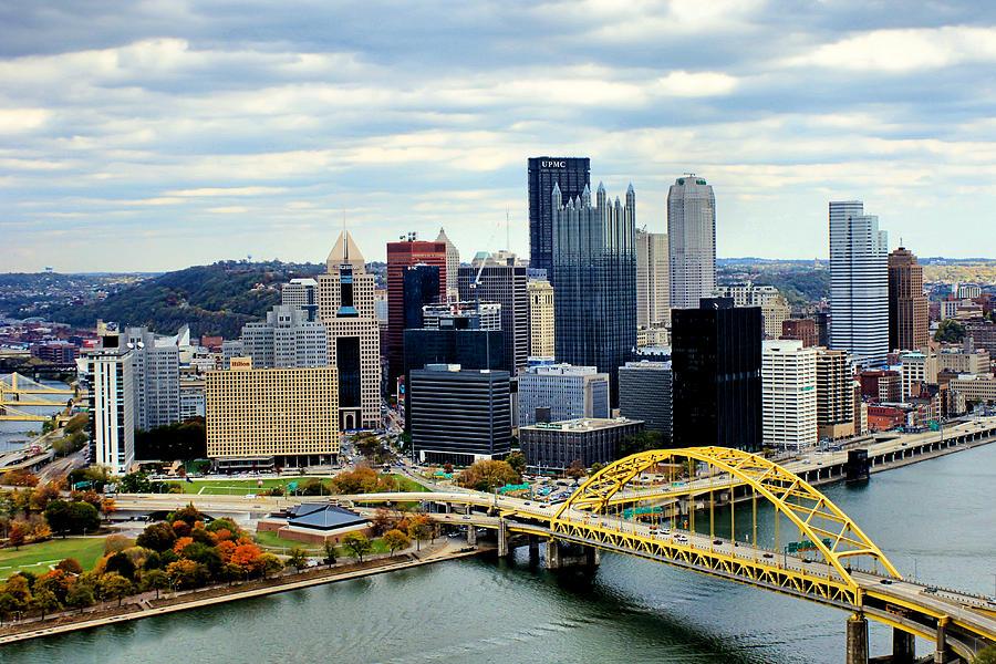 Pittsburgh Skyline Photograph - Fort Pitt Bridge by Michelle Joseph-Long