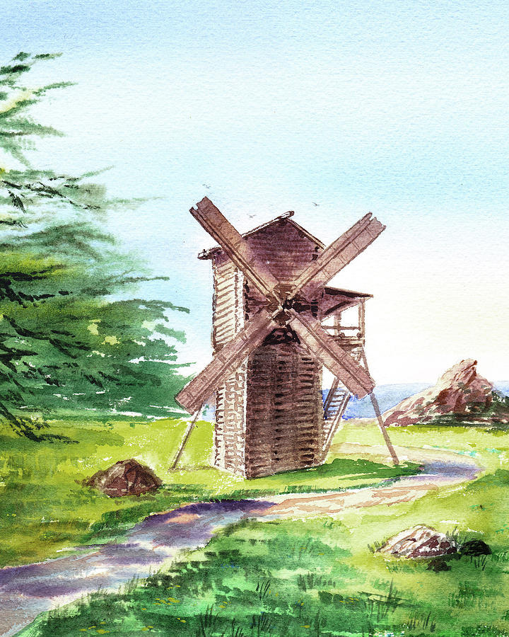 Landscape Painting - Fort Ross Windmill  by Irina Sztukowski