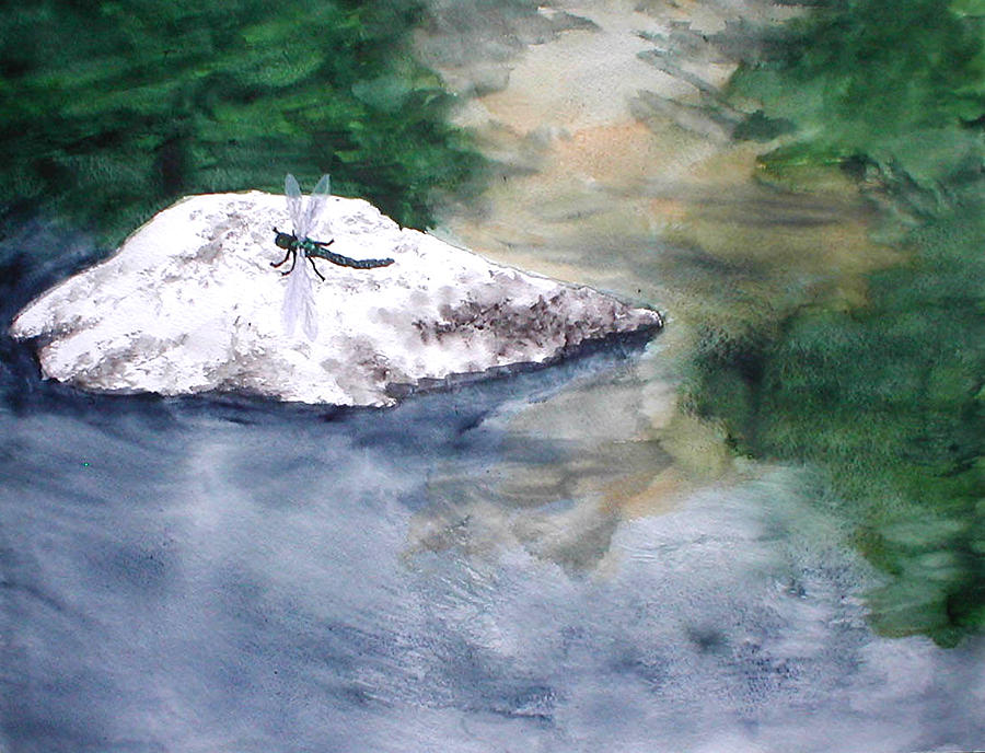 River Painting - Fort Toulouse Dragonfly by Beth Parrish