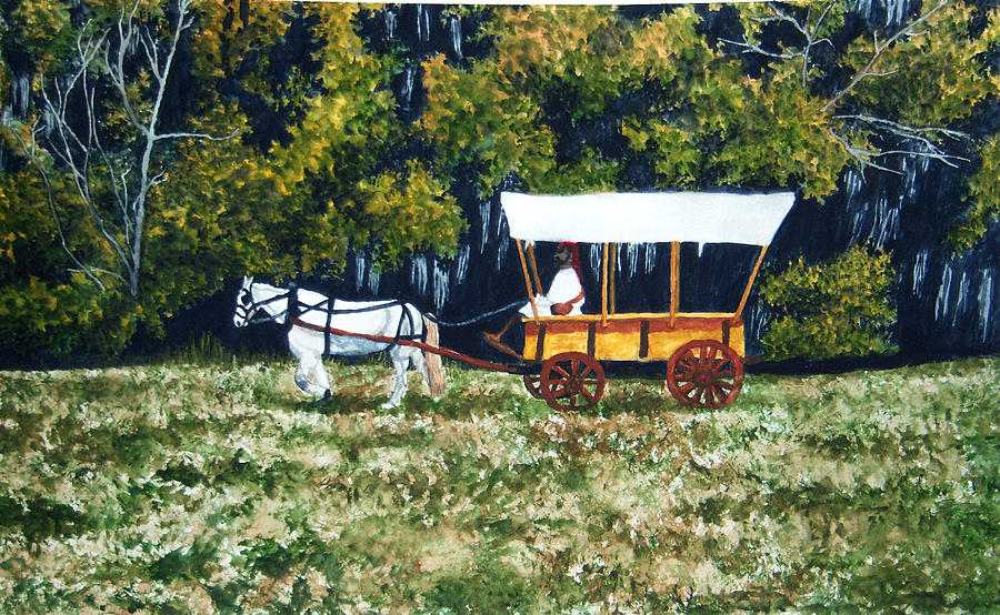 Horse Painting - Fort Toulouse Heading Back To The Fort by Beth Parrish