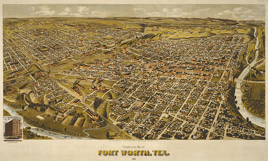 Fort Worth 1891 by Henry Wellge by Texas Map Store