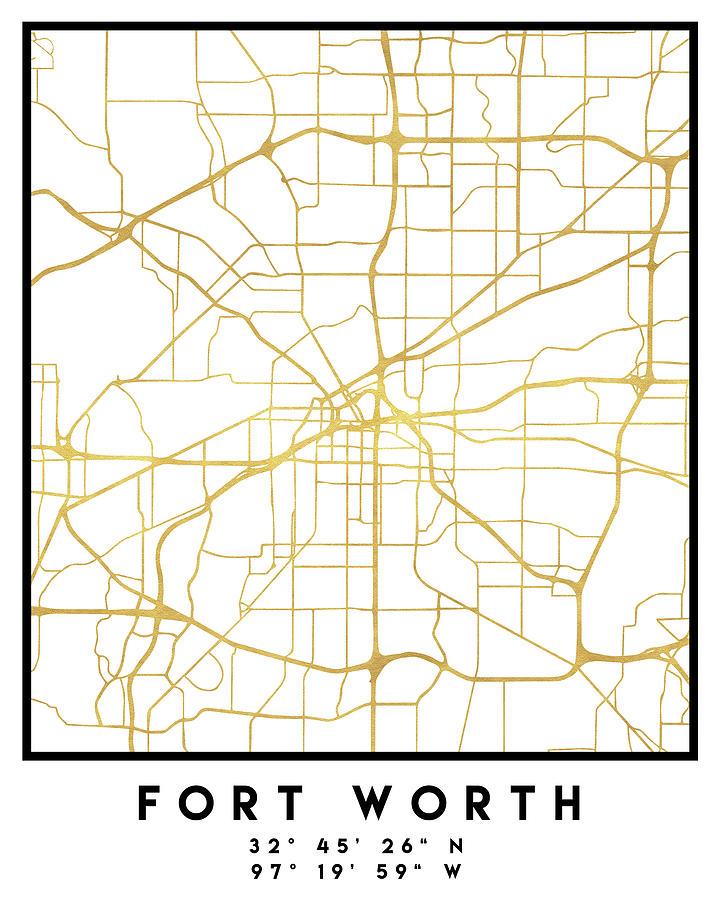 Fort Worth Texas City Street Map Art