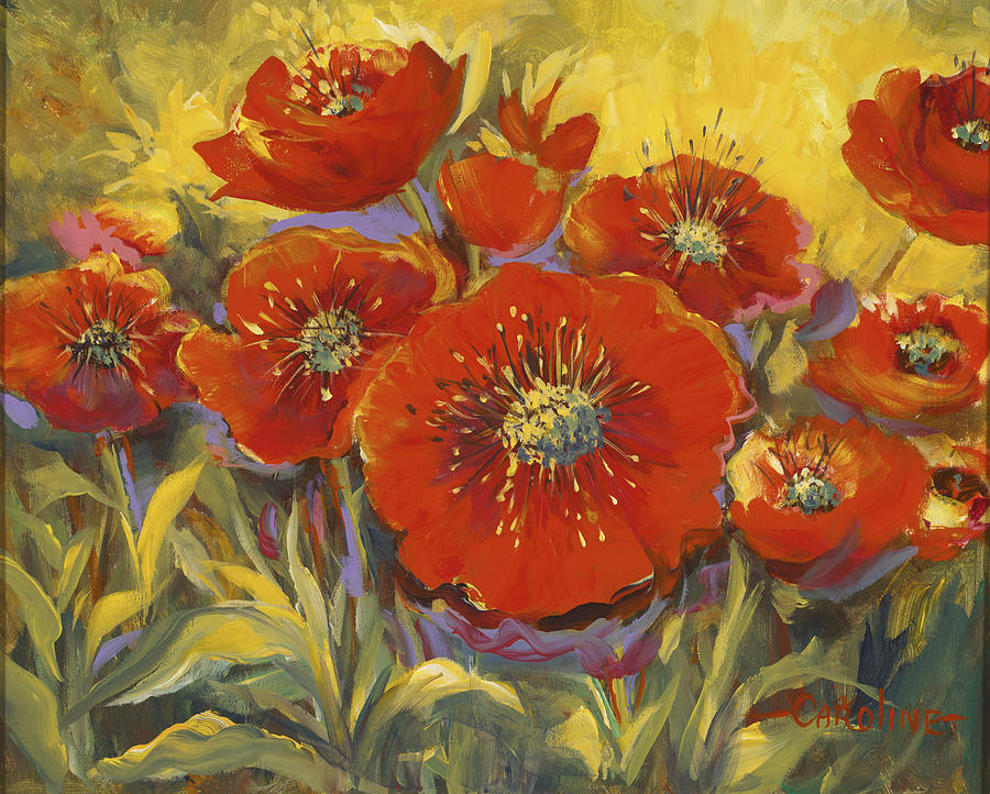 Plants Painting - Fortuitous Poppies by Caroline Patrick