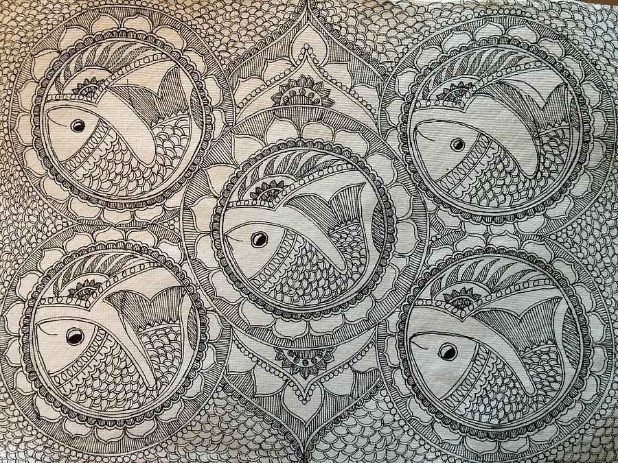 Sketch Drawing - Fortune Fish by Shilpa Adavatkar
