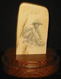 Scrimshaw Mixed Media - Fortyniner by Jim Stevens