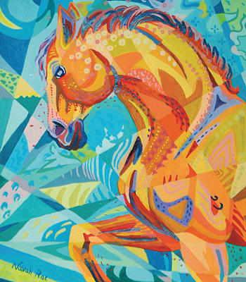 Horse Painting - Forward Trot by Navah Ross