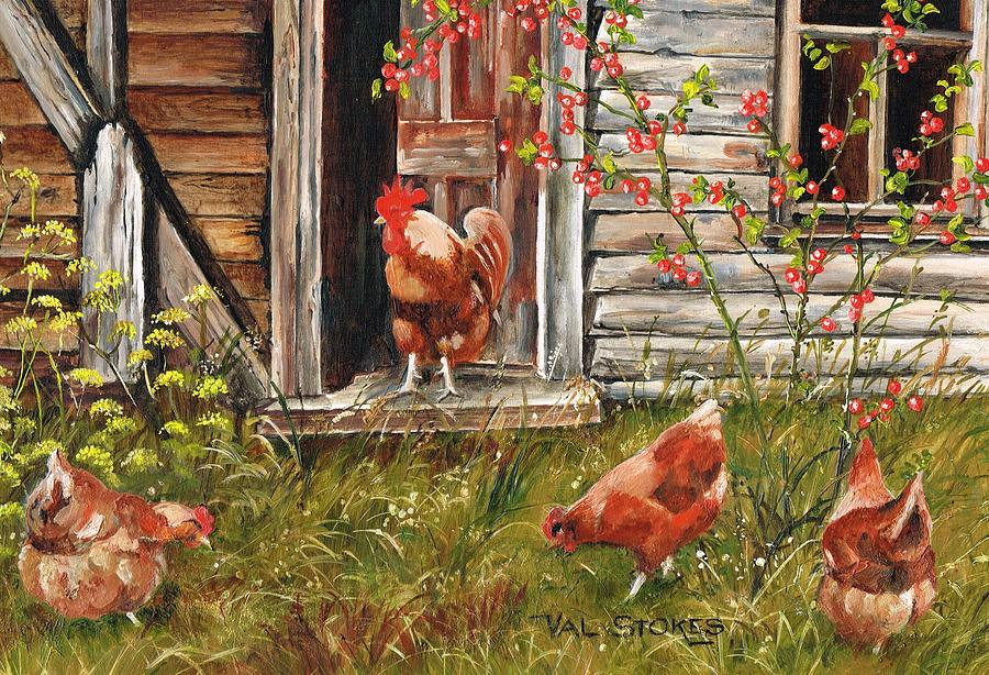 Fowls Painting - Fossicking Fowls by Val Stokes