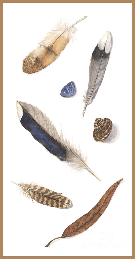 Feathers Painting - Found Treasures by Lucy Arnold