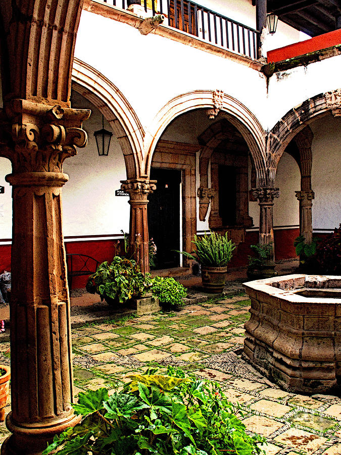 Patzcuaro Photograph - Fountain And Arches by Mexicolors Art Photography