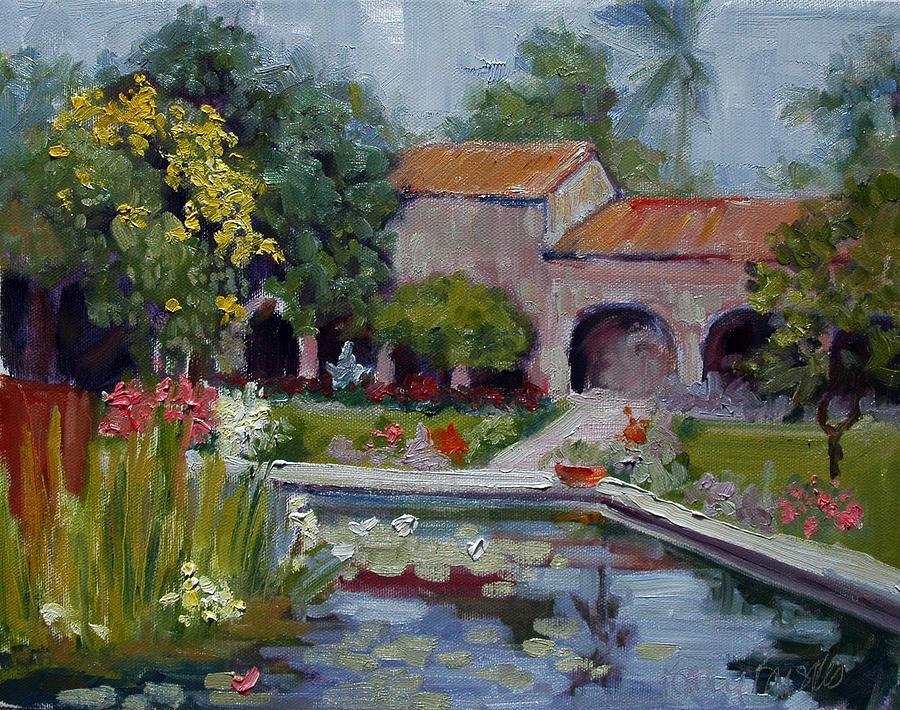 Fountain Painting - Fountain at San Juan Capistrano by Kathy Busillo