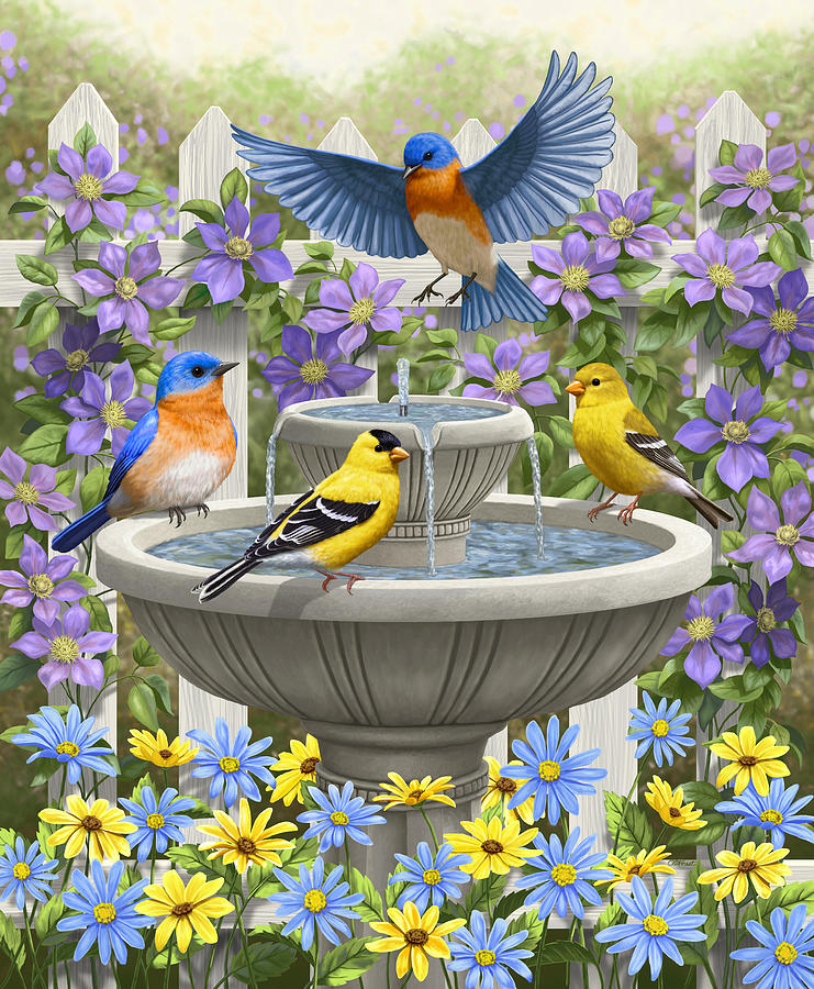 Eastern Bluebird Painting - Fountain Festivities - Birds And Birdbath Painting by Crista Forest