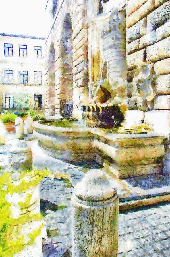 Fountain Painting - Fountain On The Facade Of The Municipality by Giuseppe Cocco