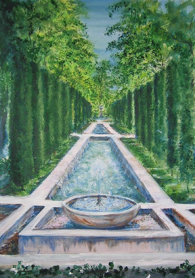 Fountain Painting - Fountain  Palma De Mallorca Capital  by Lizzy Forrester
