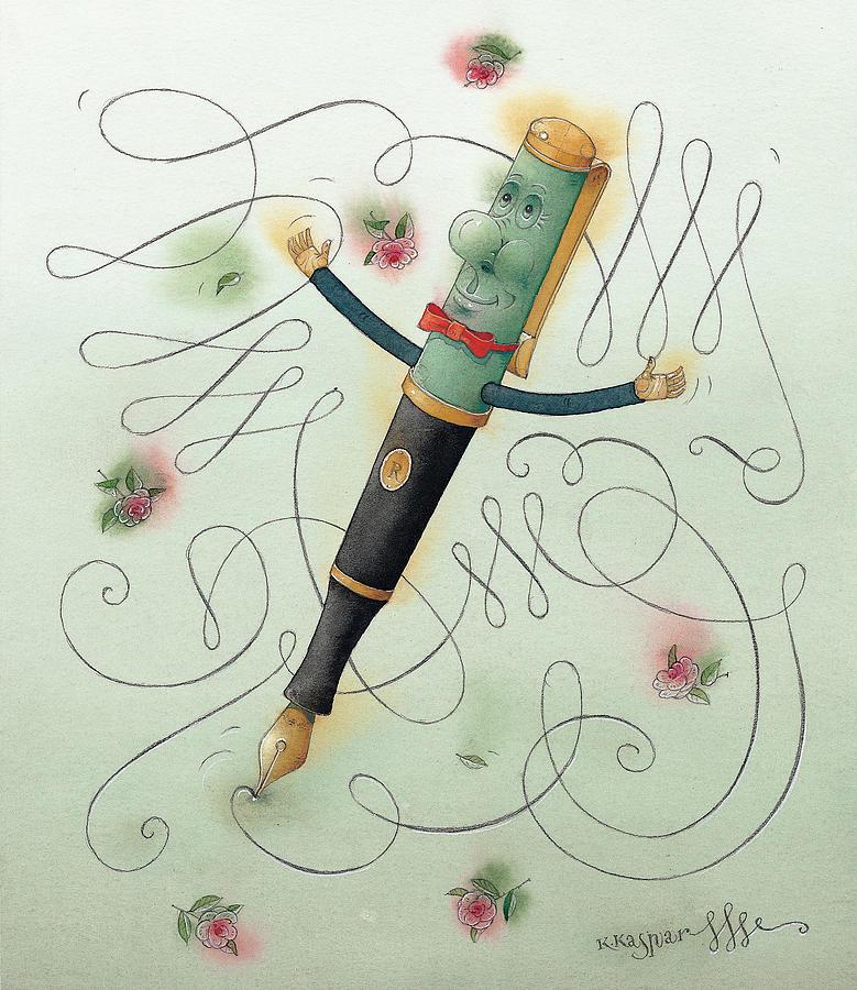 Pen Ice Winter Dance Slide Skate White Calligraphy Painting - Fountain-pen  by Kestutis Kasparavicius