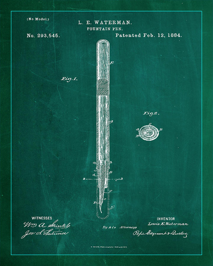 Patent Mixed Media - Fountain Pen Patent Drawing 1a by Brian Reaves