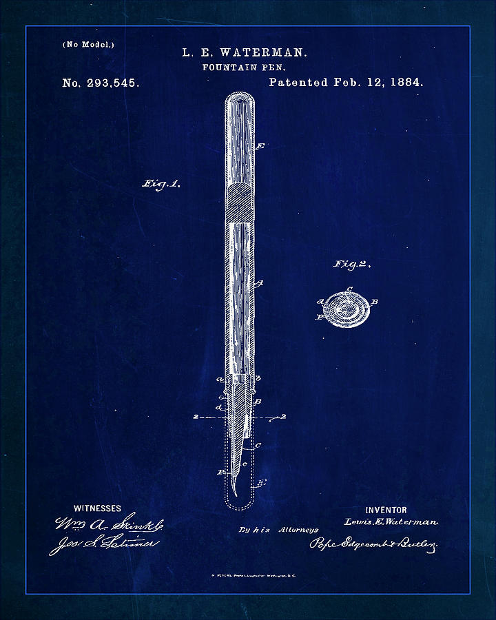 Patent Mixed Media - Fountain Pen Patent Drawing  by Brian Reaves