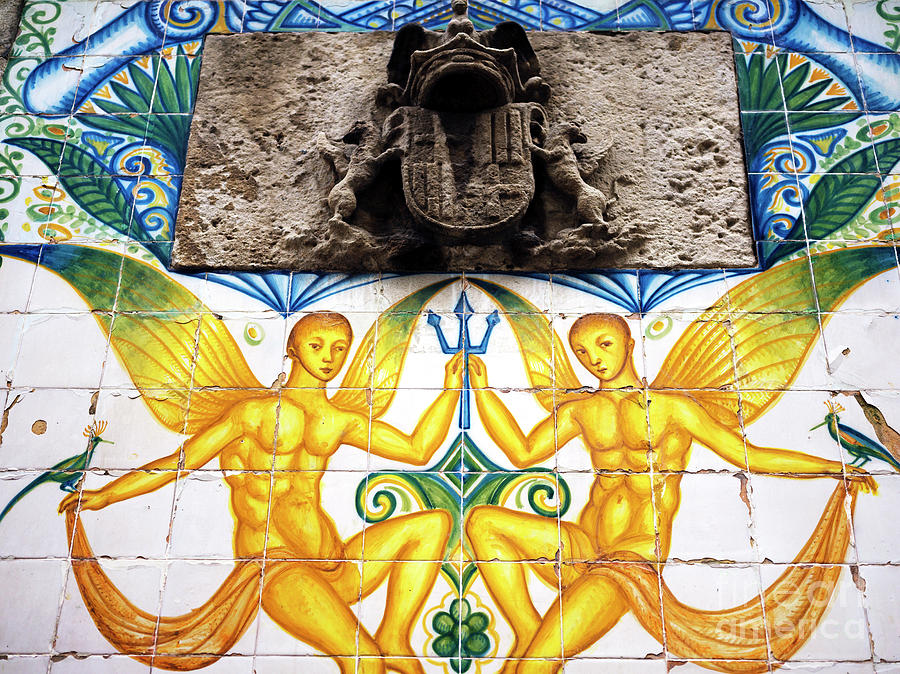 Tiles Photograph - Fountain Tile Design In Barcelona by John Rizzuto