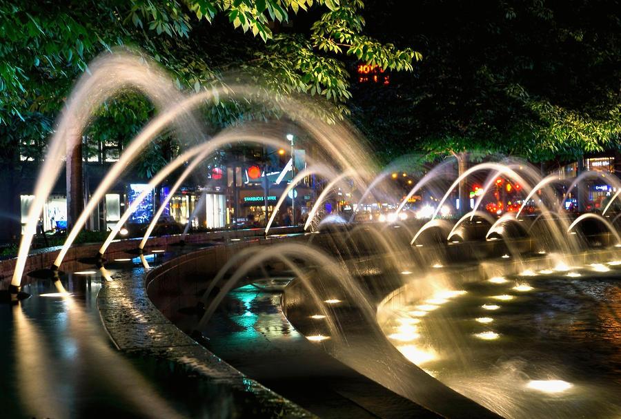 Newyork Photograph - Fountains At Columbus Circle by Charles Chin