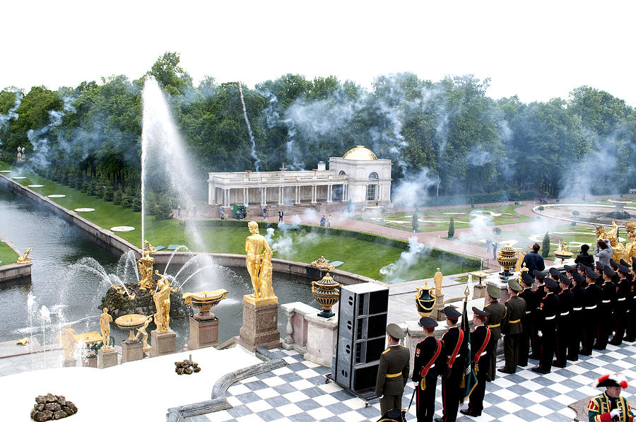 St. Petersburg Russia Photograph - Fountains B416 by Charles  Ridgway