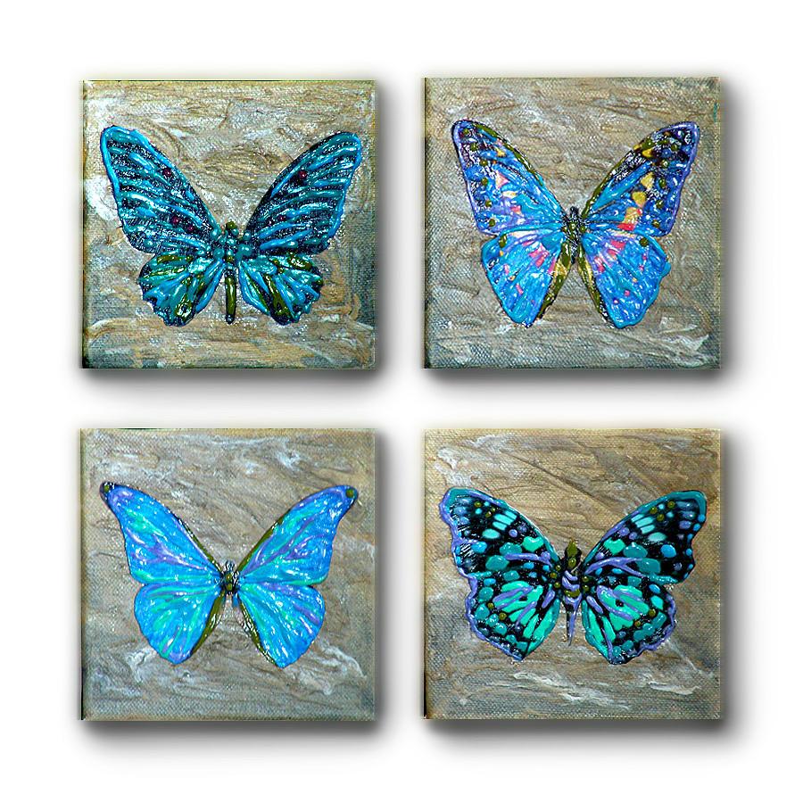 Four aflutter 4 panel metallic acrylic painting blue green for Metallic paint artwork