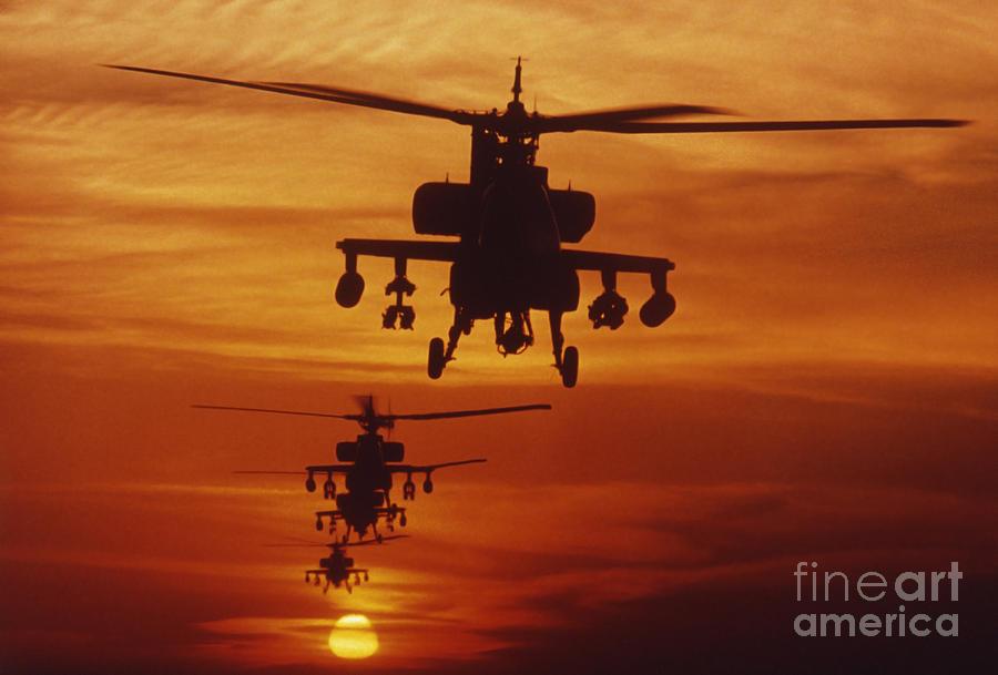 Sky Photograph - Four Ah-64 Apache Anti-armor by Stocktrek Images