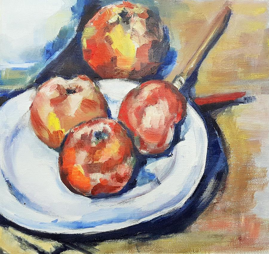 four apples and a knife cezanne interpretation painting by christel