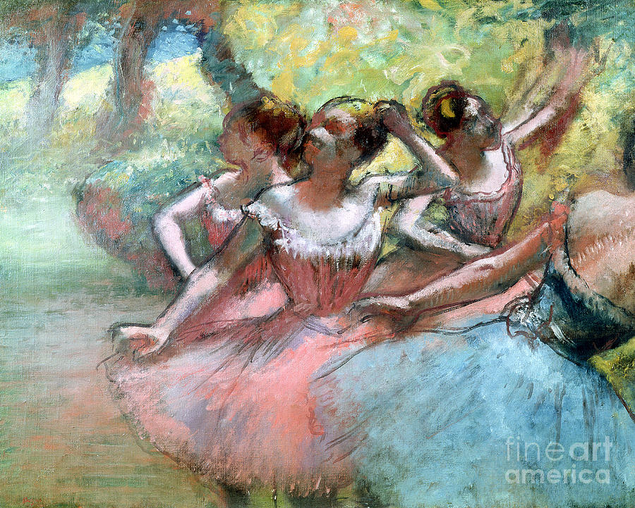 Four Ballerinas On The Stage Pastel by Edgar Degas