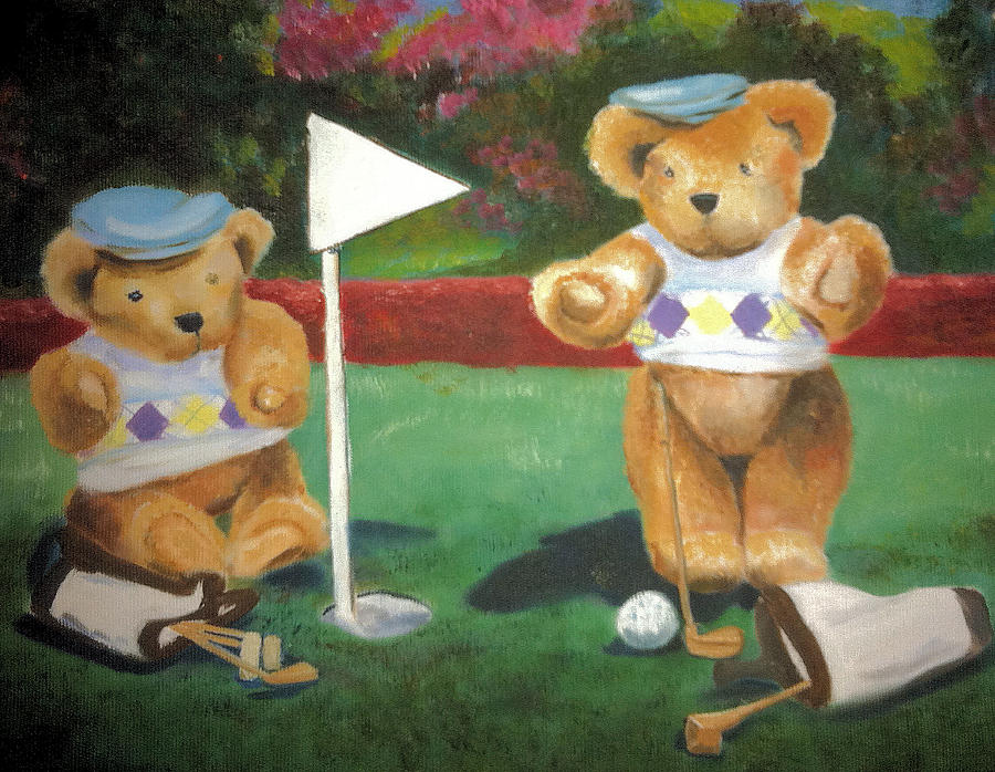 Teddy Bears Painting - Four by Beverly Johnson