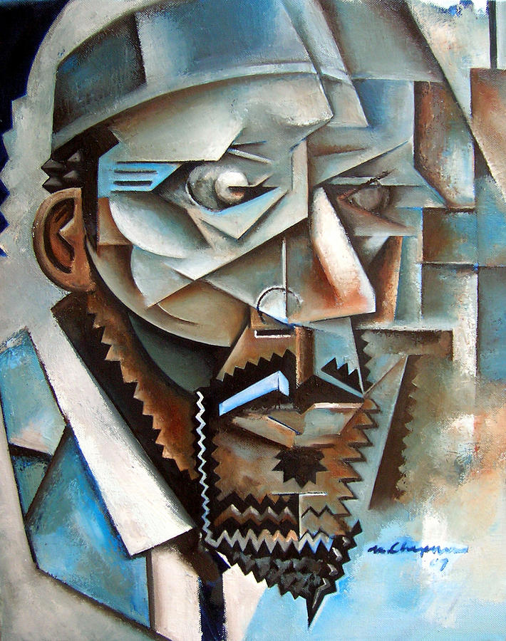 Four Blue Monk Painting by Martel Chapman