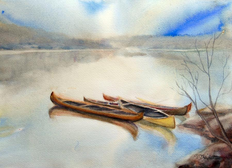 Canoes Painting - Four Canoes by Diane Binder