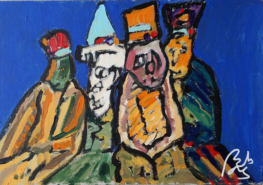 Politician Painting - Four clowns. Satiric Paintings II by Bachmors Artist