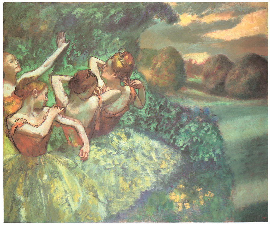 Four Dancers Pastel - Four Dancers by Edgar Degas