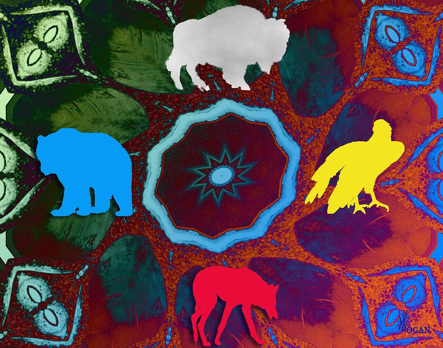 Wildlife Digital Art - Four Directions   -009 by Will Logan