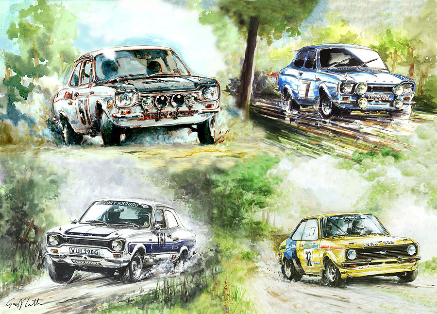 Four Ford Escort Rally Cars Painting by Geoff Latter