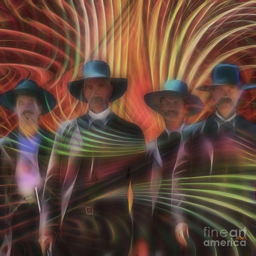 Tombstone Digital Art - Four Horsemen - Square Version by John Robert Beck