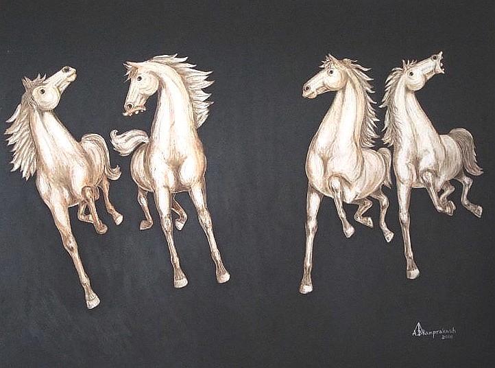 Oil Paintings Painting - Four Horses by Ram Prakash