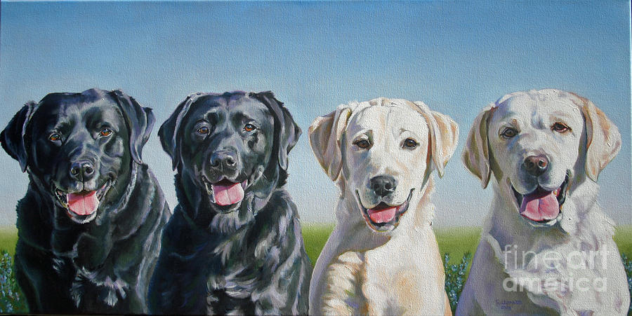 Dogs Painting - Four Labs by Suzanne Leonard