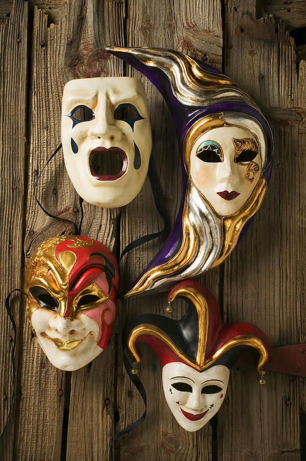 Mask Photograph - Four Masks by Garry Gay