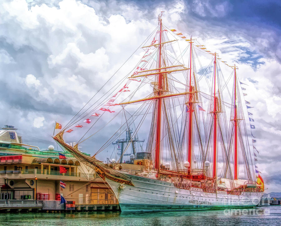 Four Masted Schooner in Port by Sue Melvin