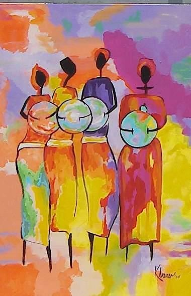 Painting Painting - Four Native Women by Kathleen  Henner